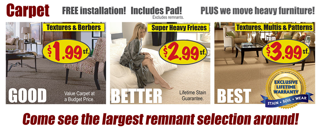 Carpet Starting at $1.99 sq.ft. - Free Installation - Includes Pad!